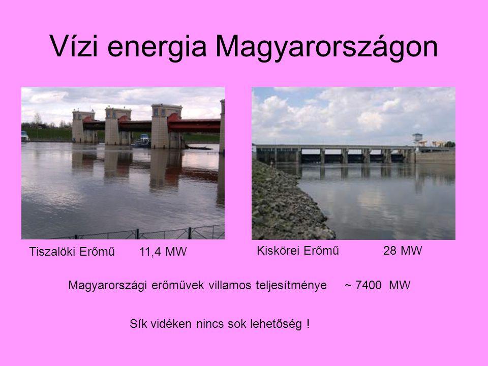 Vízi energia Magyarországon Tiszalöki Erőmű 11,4 MW Kiskörei Erőmű 28 MW Magyarországi erőművek villamos teljesítménye ~ 7400 MW Sík vidéken nincs sok lehetőség !