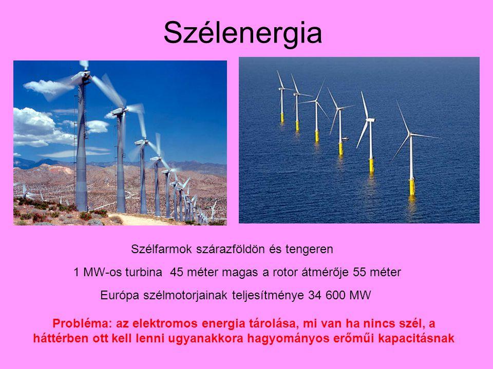 Szélenergia Szélfarmok szárazföldön és tengeren 1 MW-os turbina 45 méter magas a rotor átmérője 55 méter Európa szélmotorjainak teljesítménye 34 600 MW Probléma: az elektromos energia tárolása, mi van ha nincs szél, a háttérben ott kell lenni ugyanakkora hagyományos erőműi kapacitásnak