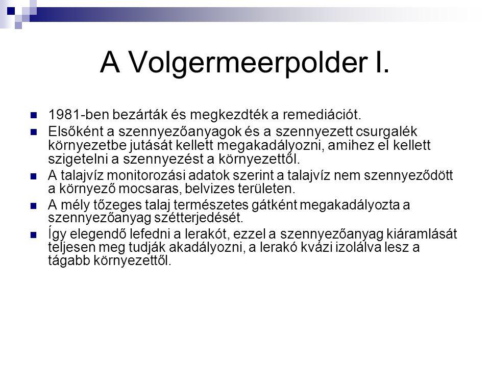 A Volgermeerpolder I. 1981-ben bezárták és megkezdték a remediációt. Elsőként a szennyezőanyagok és a szennyezett csurgalék környezetbe jutását kellet