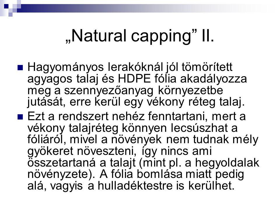 """""""Natural capping"""" II. Hagyományos lerakóknál jól tömörített agyagos talaj és HDPE fólia akadályozza meg a szennyezőanyag környezetbe jutását, erre ker"""
