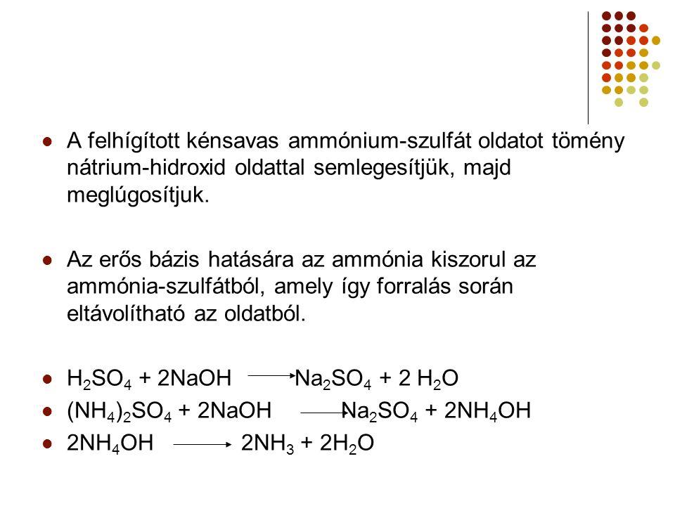 Desztillálókészülékben forralva a lúgos oldatot, az eltávozó ammónia mennyisége megköthető ismert térfogatú és töménységű bórsavoldatban: H[B(OH) 4 ] + NH 3 (NH 4 ) [B(OH) 4 ] A desztilláció befejezése után a felesleges bórsavat megtitráljuk kénsav-mérőoldattal: 2(NH 4 ) [B(OH) 4 ] + H 2 SO 4 (NH 4 )2SO 4 + H[B(OH) 4 ]