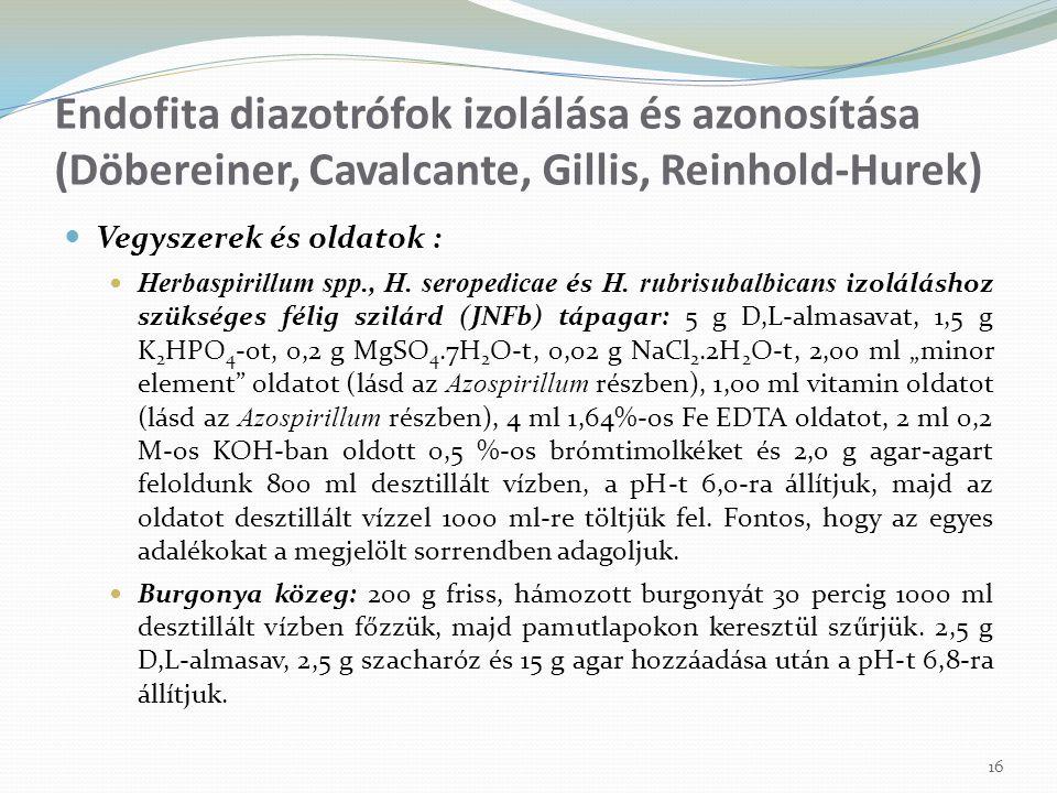 Vegyszerek és oldatok : Herbaspirillum spp., H. seropedicae és H. rubrisubalbicans izoláláshoz szükséges félig szilárd (JNFb) tápagar: 5 g D,L-almasav