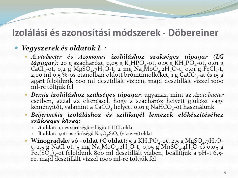 Vegyszerek és oldatok I. : Azotobacter és Azomonas izoláláshoz szükséges tápagar (LG tápagar): 20 g szacharózt, 0,05 g K 2 HPO 4 -ot, 0,15 g KH 2 PO 4