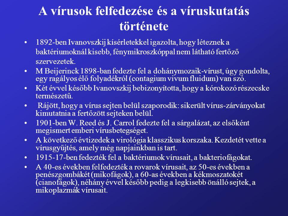 A vírusok felfedezése és a víruskutatás története A víruskutatás egyik nehézsége: mivel a vírusok csak élő sejtekben szaporodnak, ki kellett fejleszteni a vírusok szaporítására alkalmas rendszereket.