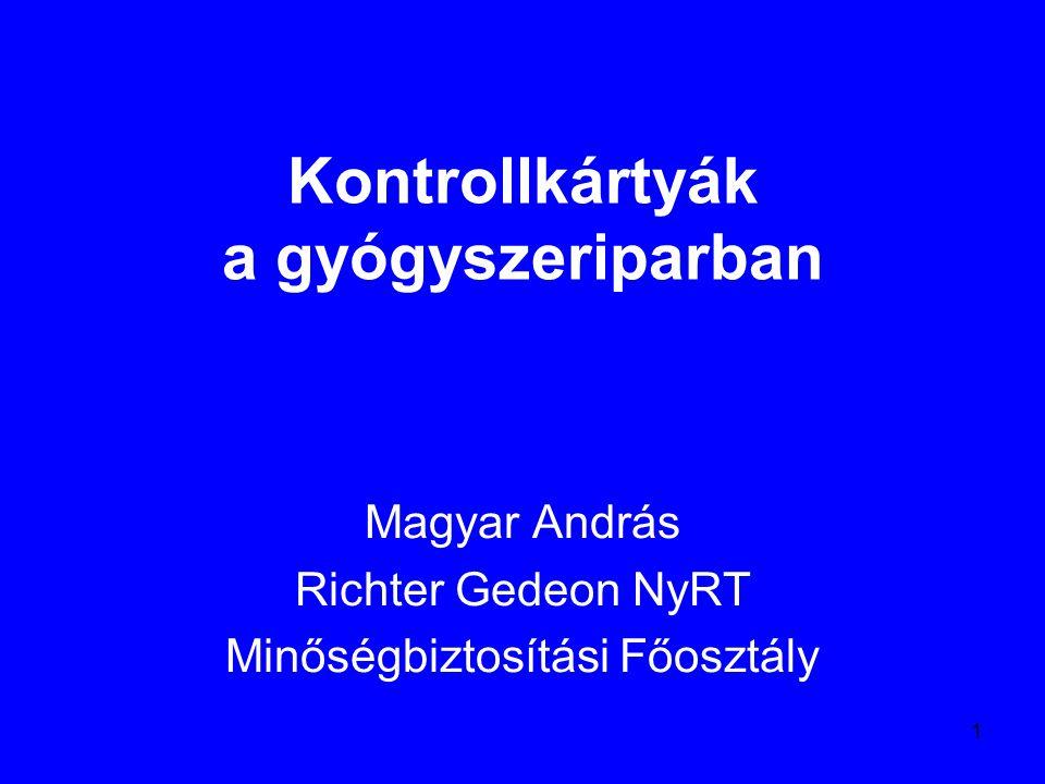 1 Kontrollkártyák a gyógyszeriparban Magyar András Richter Gedeon NyRT Minőségbiztosítási Főosztály