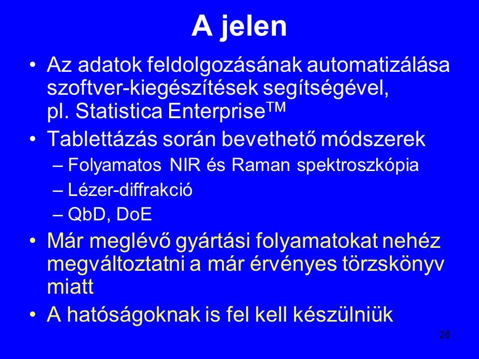 26 A jelen Az adatok feldolgozásának automatizálása szoftver-kiegészítések segítségével, pl. Statistica Enterprise TM Tablettázás során bevethető móds