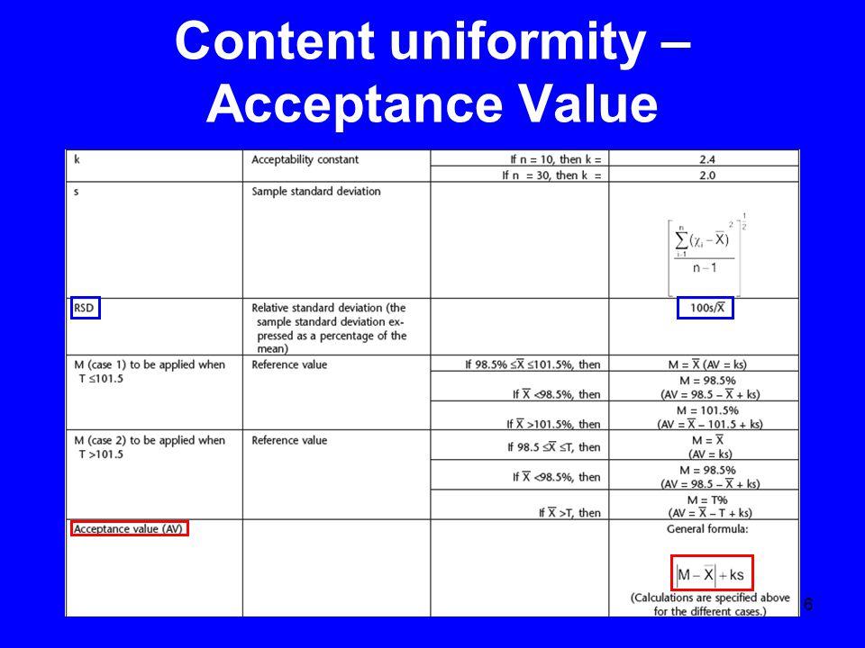 6 Content uniformity – Acceptance Value