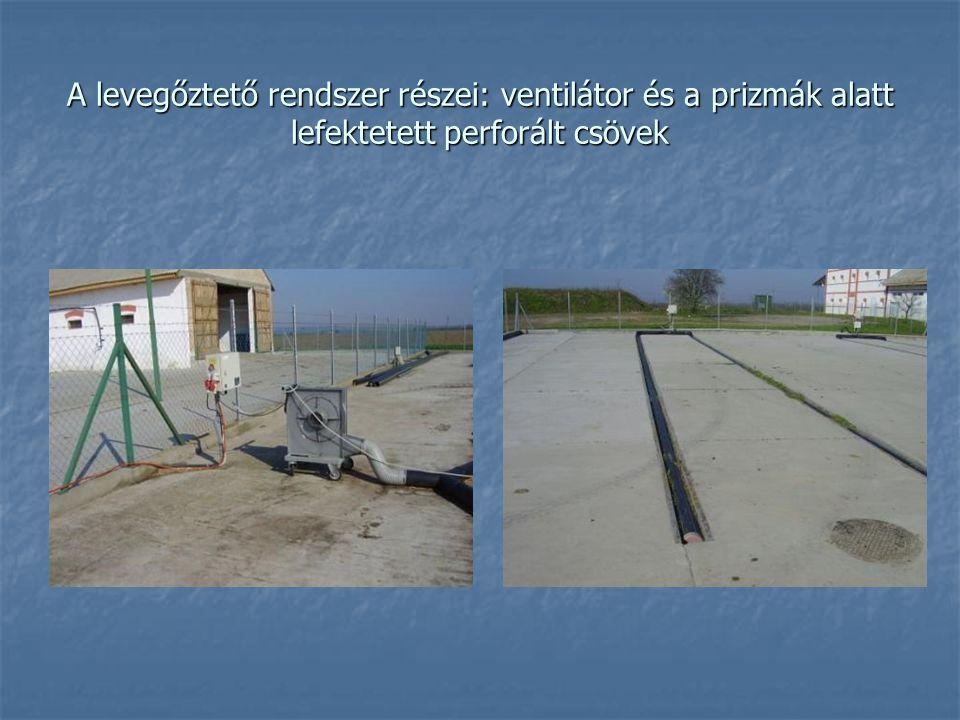A levegőztető rendszer részei: ventilátor és a prizmák alatt lefektetett perforált csövek