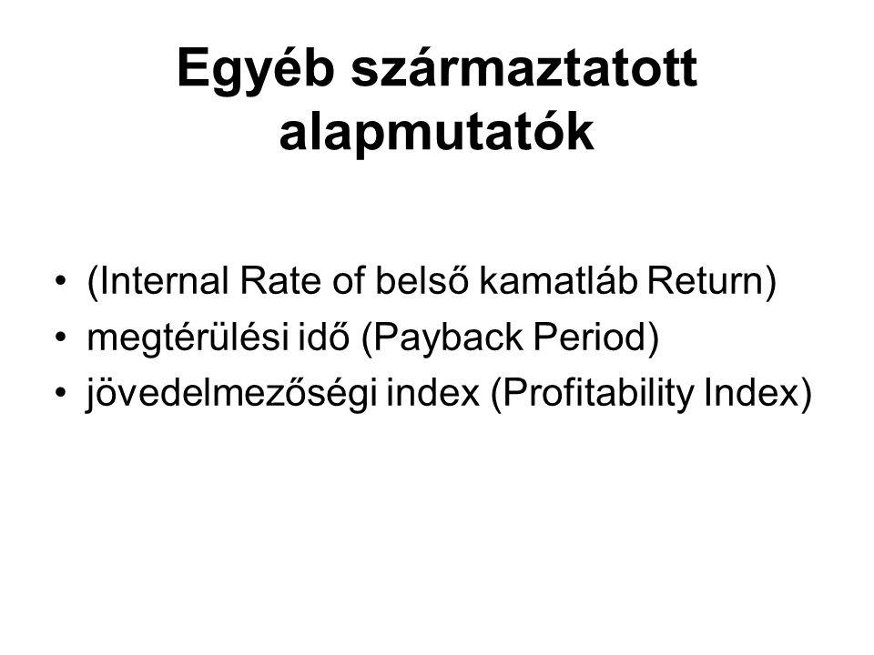 Egyéb származtatott alapmutatók (Internal Rate of belső kamatláb Return) megtérülési idő (Payback Period) jövedelmezőségi index (Profitability Index)