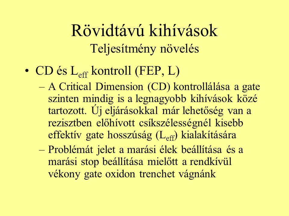 Rövidtávú kihívások Teljesítmény növelés CD és L eff kontroll (FEP, L) –A Critical Dimension (CD) kontrollálása a gate szinten mindig is a legnagyobb