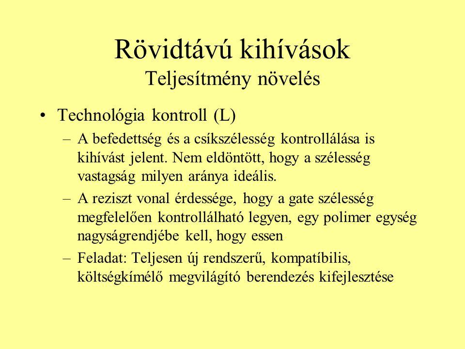 Rövidtávú kihívások Teljesítmény növelés Technológia kontroll (L) –A befedettség és a csíkszélesség kontrollálása is kihívást jelent. Nem eldöntött, h