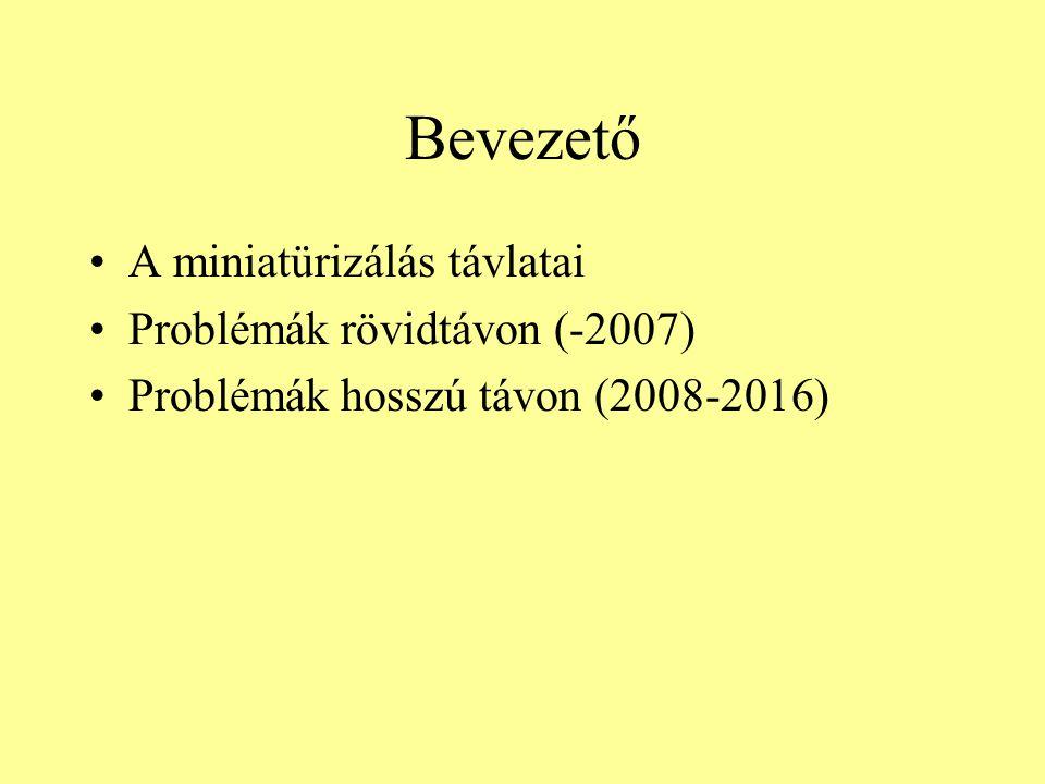 Bevezető A miniatürizálás távlatai Problémák rövidtávon (-2007) Problémák hosszú távon (2008-2016)
