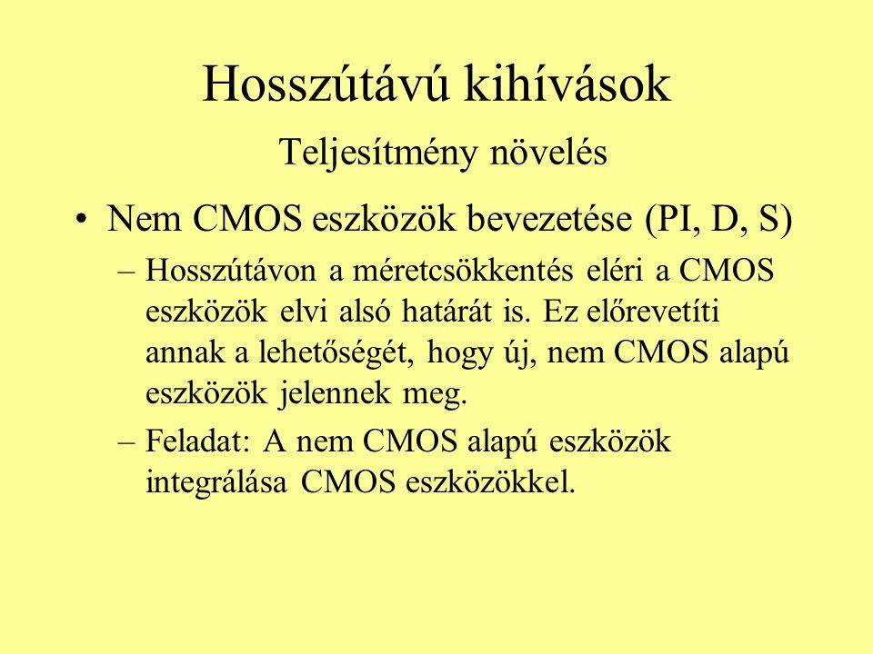 Hosszútávú kihívások Teljesítmény növelés Nem CMOS eszközök bevezetése (PI, D, S) –Hosszútávon a méretcsökkentés eléri a CMOS eszközök elvi alsó határ