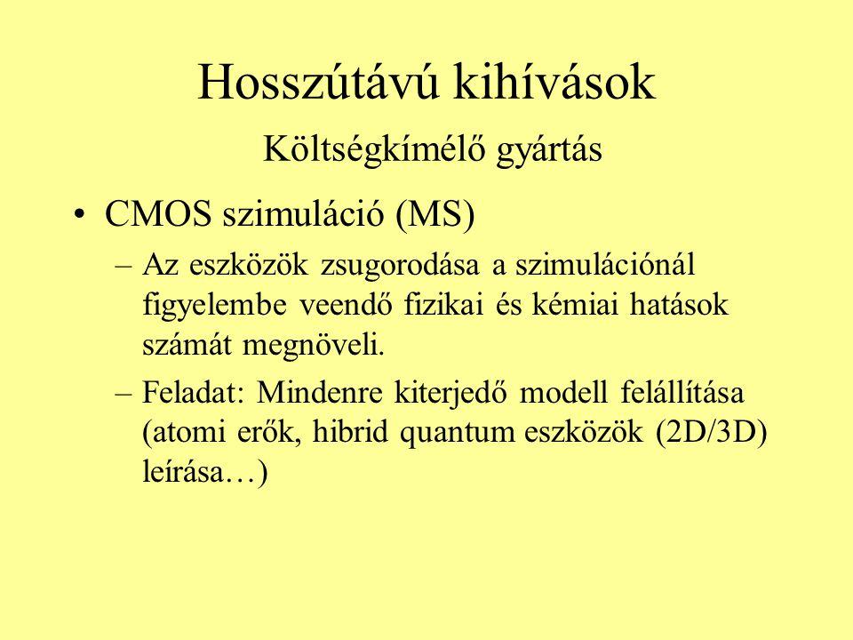Hosszútávú kihívások Költségkímélő gyártás CMOS szimuláció (MS) –Az eszközök zsugorodása a szimulációnál figyelembe veendő fizikai és kémiai hatások s