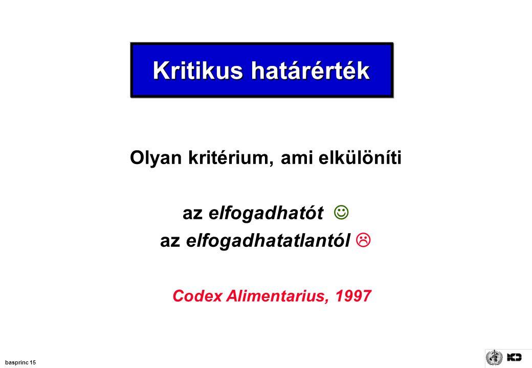 basprinc 15 Kritikus határérték Olyan kritérium, ami elkülöníti az elfogadhatót az elfogadhatatlantól  Codex Alimentarius, 1997