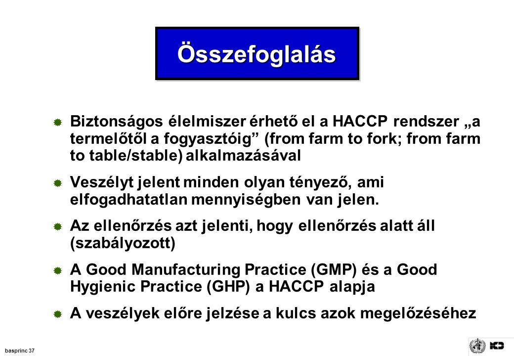 """basprinc 37 ÖsszefoglalásÖsszefoglalás  Biztonságos élelmiszer érhető el a HACCP rendszer """"a termelőtől a fogyasztóig"""" (from farm to fork; from farm"""
