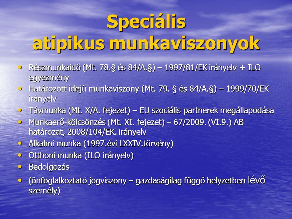 Speciális atipikus munkaviszonyok Részmunkaidő (Mt. 78.§ és 84/A.§) – 1997/81/EK irányelv + ILO egyezmény Részmunkaidő (Mt. 78.§ és 84/A.§) – 1997/81/