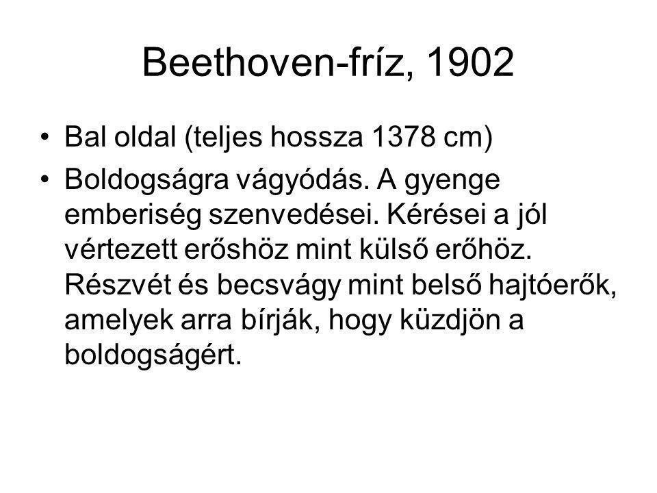 Beethoven-fríz, 1902 Bal oldal (teljes hossza 1378 cm) Boldogságra vágyódás. A gyenge emberiség szenvedései. Kérései a jól vértezett erőshöz mint küls