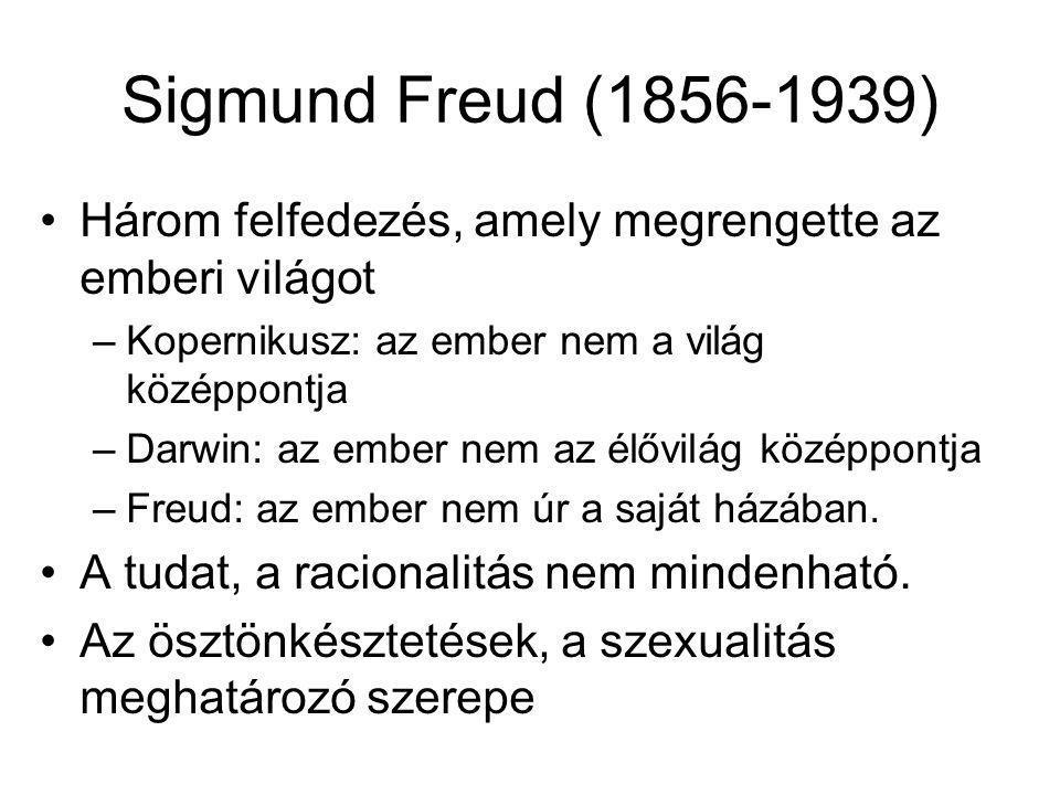 Sigmund Freud (1856-1939) Három felfedezés, amely megrengette az emberi világot –Kopernikusz: az ember nem a világ középpontja –Darwin: az ember nem a