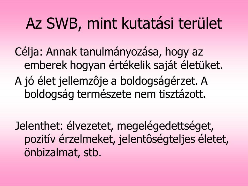 Az SWB, mint kutatási terület Célja: Annak tanulmányozása, hogy az emberek hogyan értékelik saját életüket. A jó élet jellemzôje a boldogságérzet. A b