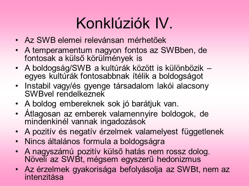Az SWB elemei relevánsan mérhetőek A temperamentum nagyon fontos az SWBben, de fontosak a külső körülmények is A boldogság/SWB a kultúrák között is kü