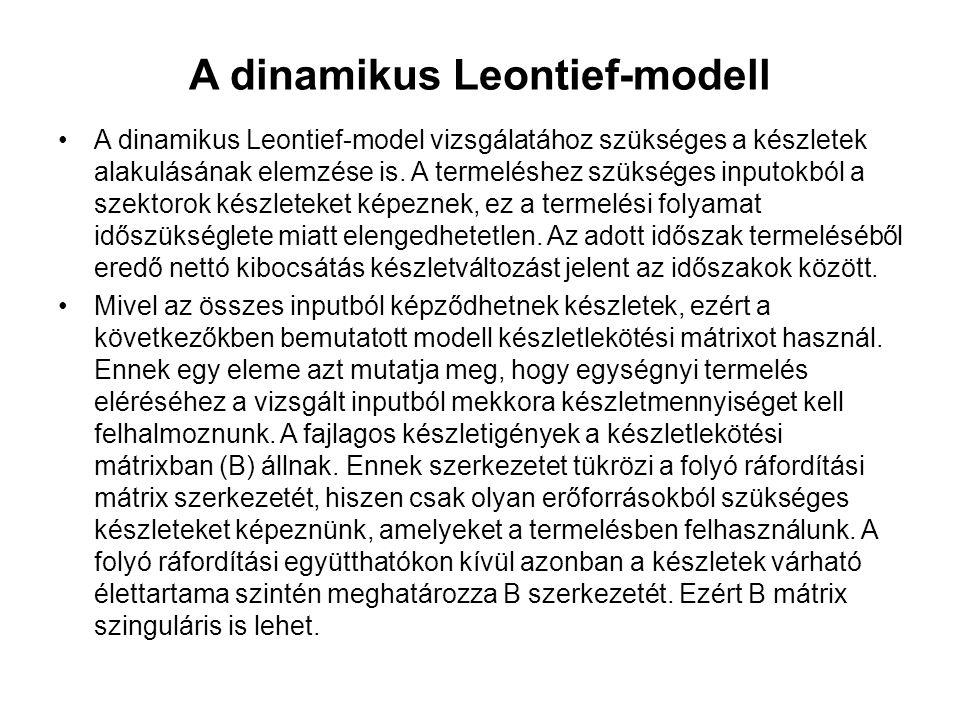 A dinamikus Leontief-modell A dinamikus Leontief-model vizsgálatához szükséges a készletek alakulásának elemzése is. A termeléshez szükséges inputokbó