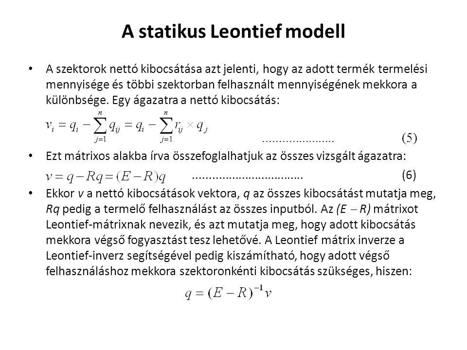 """a számítás a Leontief mátrix: és inverze: megadja, hogy az x 1 (mezőgazdaság) és x 2 (ipar) milyen összetételű kibocsátása felelne meg a """"külső háztartás, mint végső fogyasztó részére: x 1 = 1,4570.y 1 + 0,6623.y 2 = 1,4570×55 + 0,6623×30= 100 x 2 = 0,2318.y 1 + 1,2417.y 2 = 0,2318×55 + 1,2417×30= 50 E  A =(1  0,25)  0,4  0,14(1  0,12) (E  A)  1 = 1,45700,6623 0,23181,2417"""