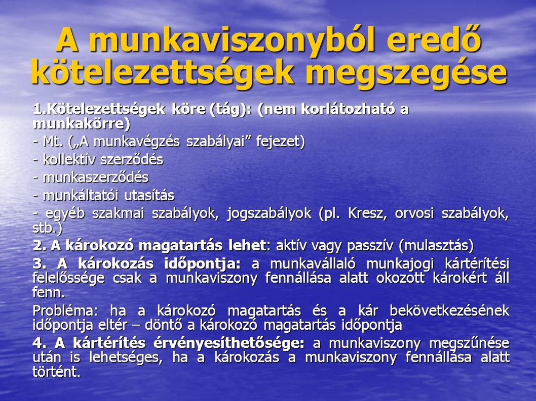 """A munkaviszonyból eredő kötelezettségek megszegése 1.Kötelezettségek köre (tág): (nem korlátozható a munkakörre) - Mt. (""""A munkavégzés szabályai"""" feje"""