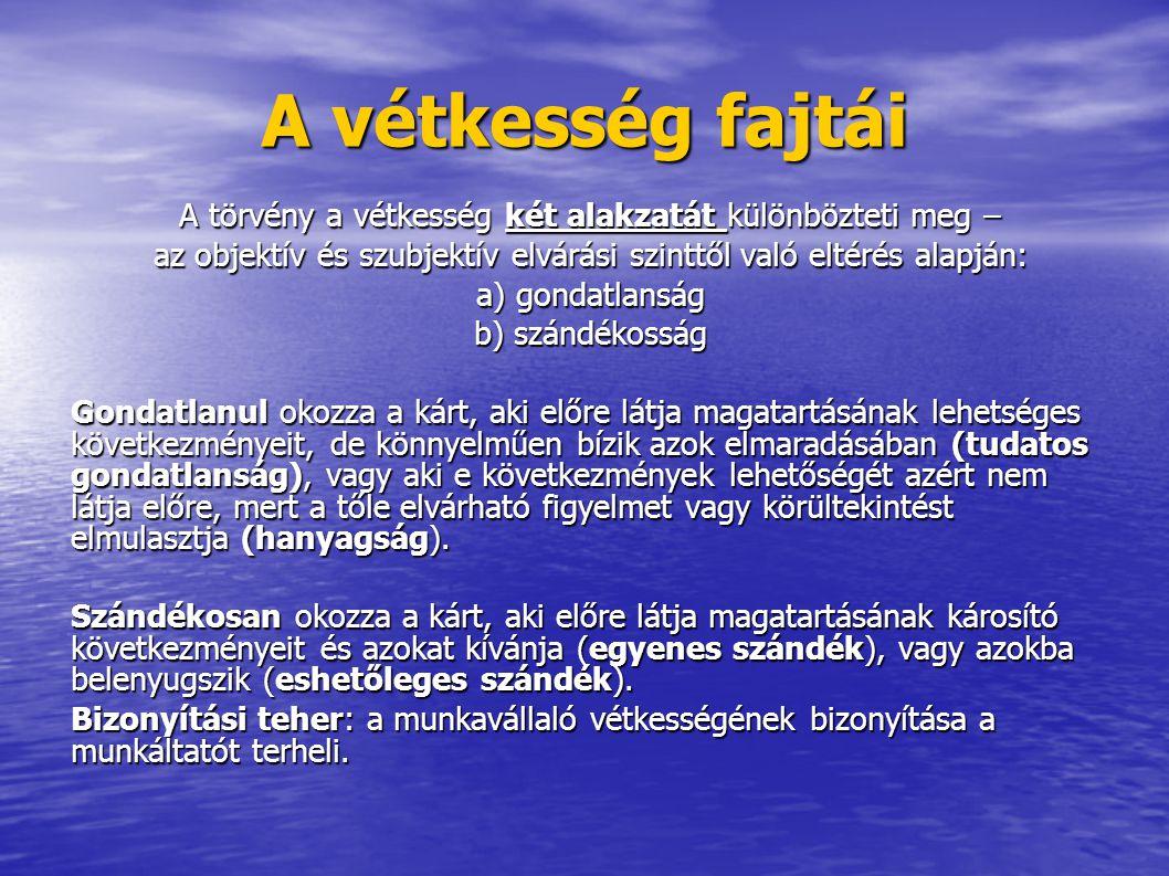 A vétkesség fajtái A törvény a vétkesség két alakzatát különbözteti meg – az objektív és szubjektív elvárási szinttől való eltérés alapján: a) gondatl