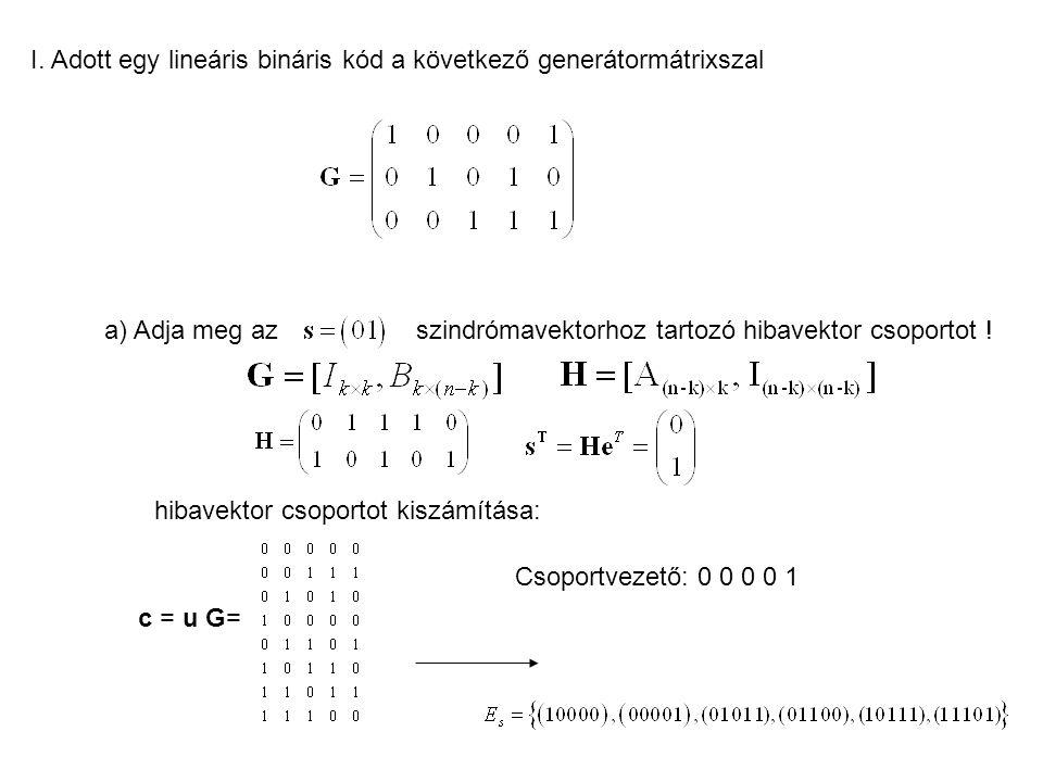 b) adja meg -t úgy, hogy a kód biztosan ki tudjon javítani 1 hibát, és szisztematikus legyen Ahhoz, hogy a kód minden egyhibás hibamintát javítani tudjon az kell, hogy a H oszlopai különbözőek legyenek (ugyanis egységvektorral szorozva H-t a megfelelő oszlop lesz a szorzás eredménye, ami maga a szindróma.) Így teljesül az, hogy minden egyhibás hibamintához más és más szindróma tartozik.