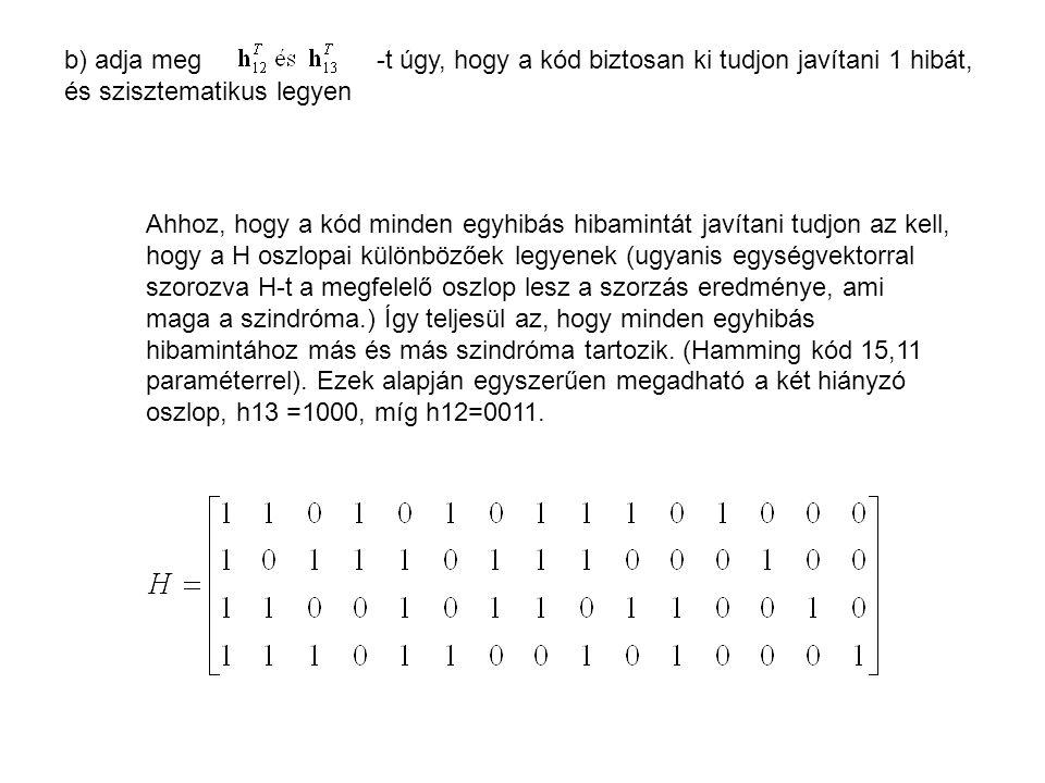 b) adja meg -t úgy, hogy a kód biztosan ki tudjon javítani 1 hibát, és szisztematikus legyen Ahhoz, hogy a kód minden egyhibás hibamintát javítani tud