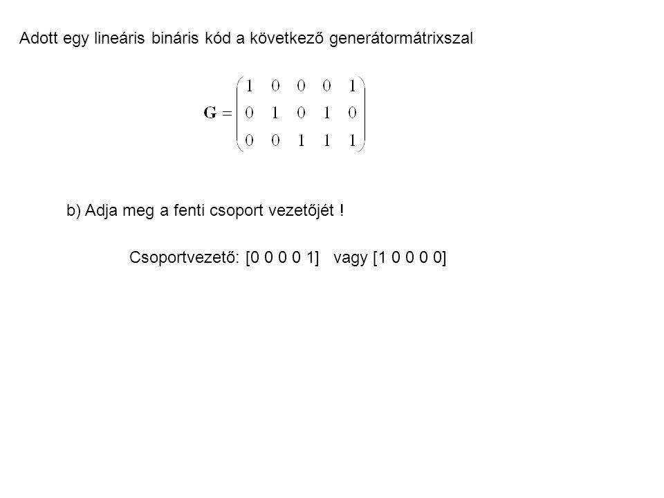 Adott egy lineáris bináris kód a következő generátormátrixszal b) Adja meg a fenti csoport vezetőjét ! Csoportvezető: [0 0 0 0 1] vagy [1 0 0 0 0]