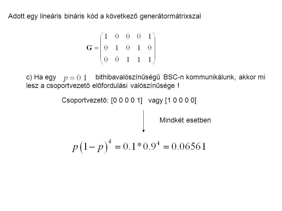 Adott egy lineáris bináris kód a következő generátormátrixszal c) Ha egy bithibavalószínűségű BSC-n kommunikálunk, akkor mi lesz a csoportvezető előfo