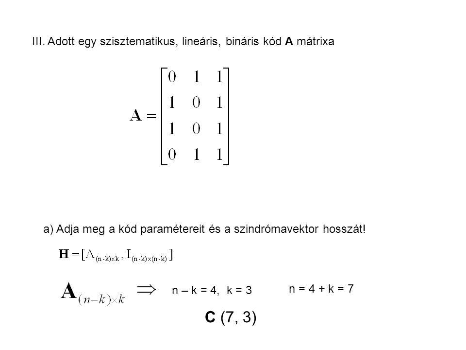 III. Adott egy szisztematikus, lineáris, bináris kód A mátrixa a) Adja meg a kód paramétereit és a szindrómavektor hosszát! n – k = 4, k = 3 n = 4 + k