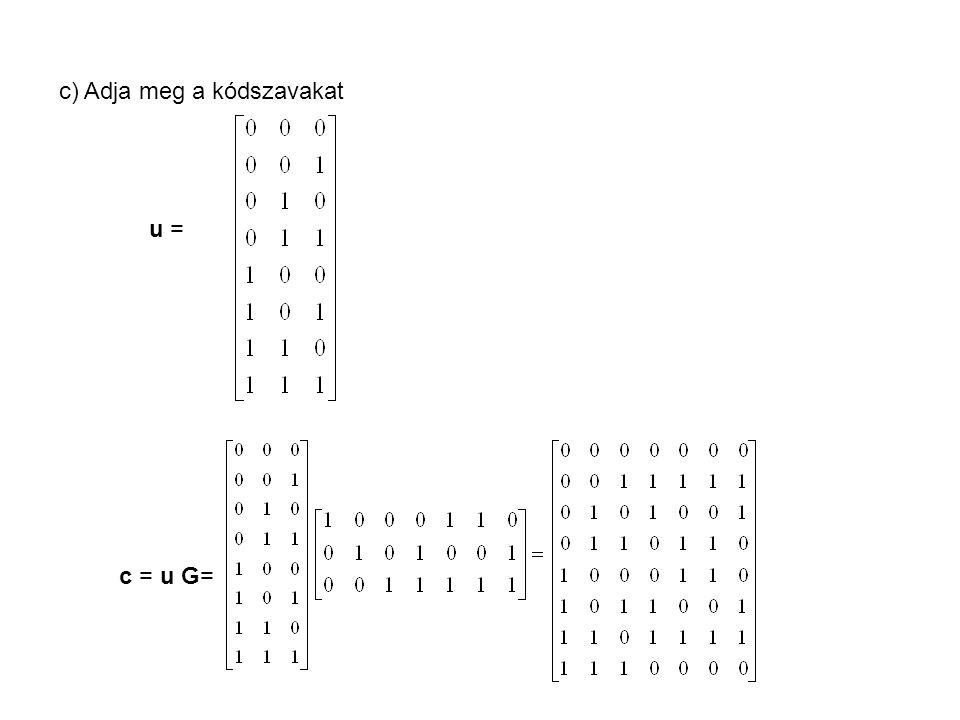 d) Mi a hibajavító és mi a hibajelző képessége a kódnak d min = 3 < (n – k + 1) = (7 – 3 + 1) = 5 Hibajelzés: d min -1=2 Hibajavítás: t=