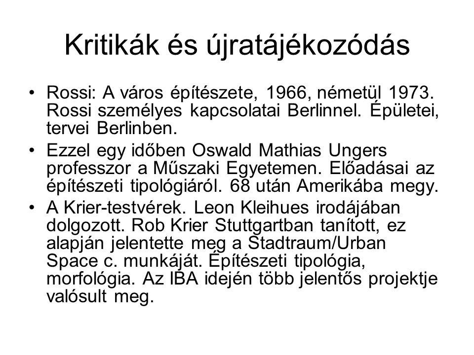Kritikák és újratájékozódás Rossi: A város építészete, 1966, németül 1973. Rossi személyes kapcsolatai Berlinnel. Épületei, tervei Berlinben. Ezzel eg