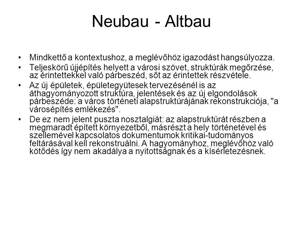 Neubau - Altbau Mindkettő a kontextushoz, a meglévőhöz igazodást hangsúlyozza. Teljeskörű újjépítés helyett a városi szövet, struktúrák megőrzése, az