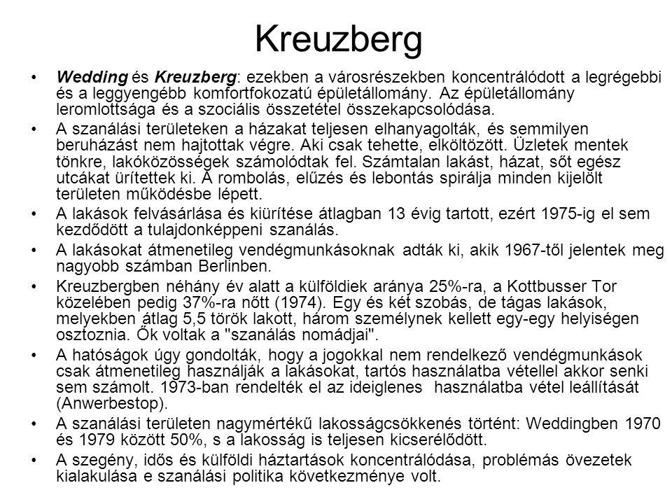 Kreuzberg Wedding és Kreuzberg: ezekben a városrészekben koncentrálódott a legrégebbi és a leggyengébb komfortfokozatú épületállomány. Az épületállomá