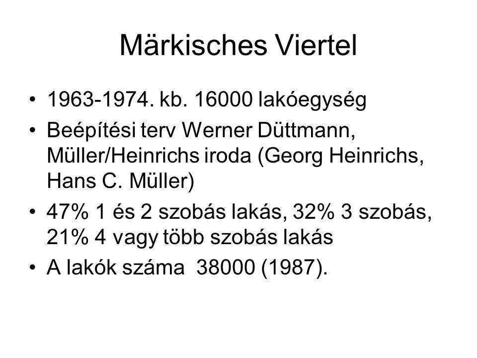 Märkisches Viertel 1963-1974. kb. 16000 lakóegység Beépítési terv Werner Düttmann, Müller/Heinrichs iroda (Georg Heinrichs, Hans C. Müller) 47% 1 és 2