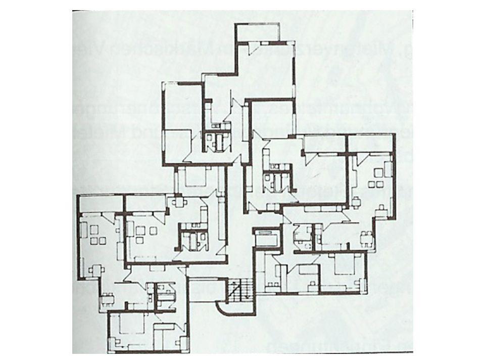 Városi villák, Rauchstrasse 1983-1985 Beépítési terv: Rob Krier 239 lakóegység 26% 1,5 szobás, 10% 2 szobás, 38% 3 szobás, 17% 4 szobás, 9% 5 v.
