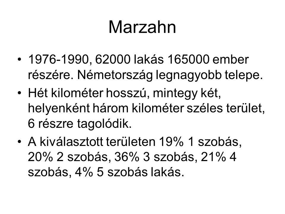 Marzahn 1976-1990, 62000 lakás 165000 ember részére. Németország legnagyobb telepe. Hét kilométer hosszú, mintegy két, helyenként három kilométer szél