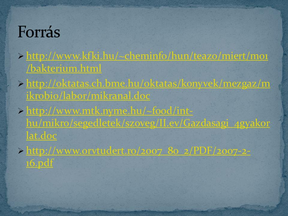  http://www.kfki.hu/~cheminfo/hun/teazo/miert/m01 /bakterium.html http://www.kfki.hu/~cheminfo/hun/teazo/miert/m01 /bakterium.html  http://oktatas.c