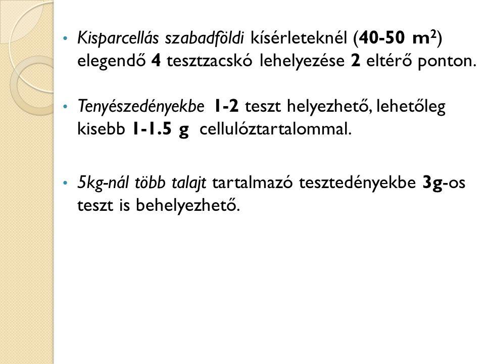 Kisparcellás szabadföldi kísérleteknél (40-50 m 2 ) elegendő 4 tesztzacskó lehelyezése 2 eltérő ponton. Tenyészedényekbe 1-2 teszt helyezhető, lehetől