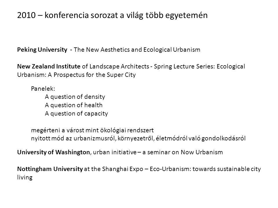 2010 – konferencia sorozat a világ több egyetemén Peking University - The New Aesthetics and Ecological Urbanism New Zealand Institute of Landscape Ar