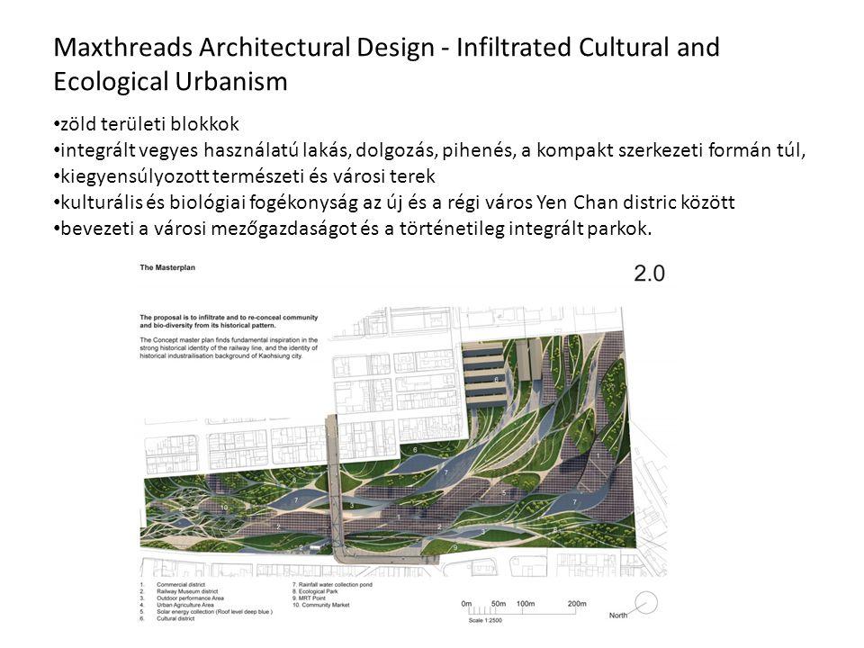 Maxthreads Architectural Design - Infiltrated Cultural and Ecological Urbanism zöld területi blokkok integrált vegyes használatú lakás, dolgozás, pihenés, a kompakt szerkezeti formán túl, kiegyensúlyozott természeti és városi terek kulturális és biológiai fogékonyság az új és a régi város Yen Chan distric között bevezeti a városi mezőgazdaságot és a történetileg integrált parkok.