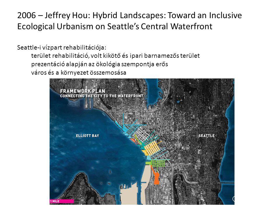 2006 – Jeffrey Hou: Hybrid Landscapes: Toward an Inclusive Ecological Urbanism on Seattle's Central Waterfront Seattle-i vízpart rehabilitációja: terület rehabilitáció, volt kikötő és ipari barnamezős terület prezentáció alapján az ökológia szempontja erős város és a környezet összemosása