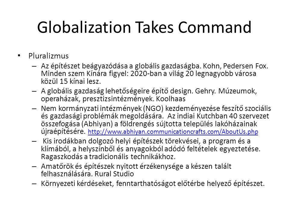 Globalization Takes Command Pluralizmus – Az építészet beágyazódása a globális gazdaságba. Kohn, Pedersen Fox. Minden szem Kínára figyel: 2020-ban a v