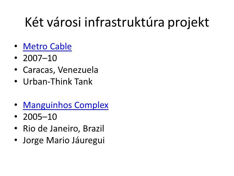 Két városi infrastruktúra projekt Metro Cable 2007–10 Caracas, Venezuela Urban-Think Tank Manguinhos Complex 2005–10 Rio de Janeiro, Brazil Jorge Mari
