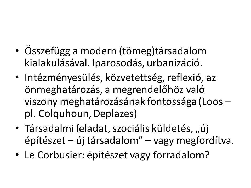 Összefügg a modern (tömeg)társadalom kialakulásával. Iparosodás, urbanizáció. Intézményesülés, közvetettség, reflexió, az önmeghatározás, a megrendelő