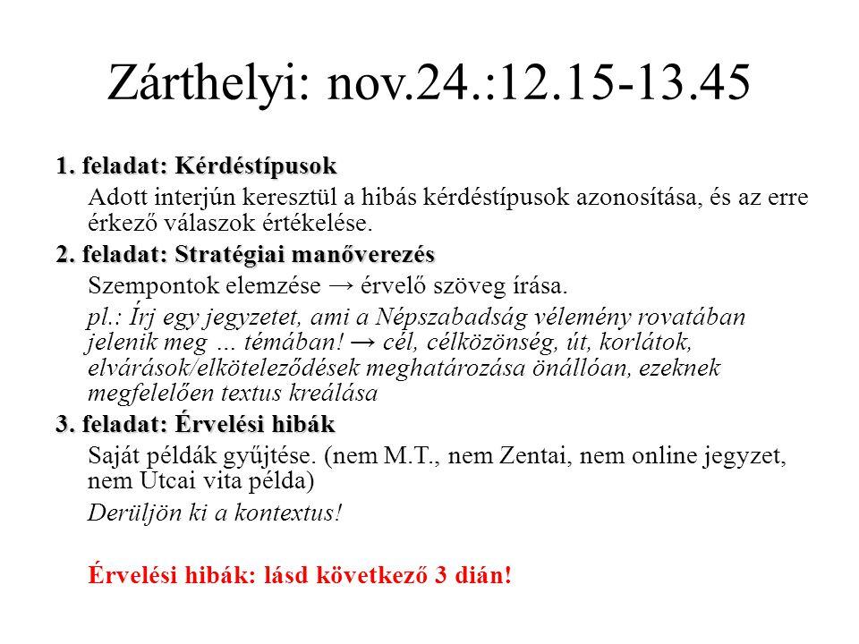 Zárthelyi: nov.24.:12.15-13.45 1. feladat: Kérdéstípusok Adott interjún keresztül a hibás kérdéstípusok azonosítása, és az erre érkező válaszok értéke